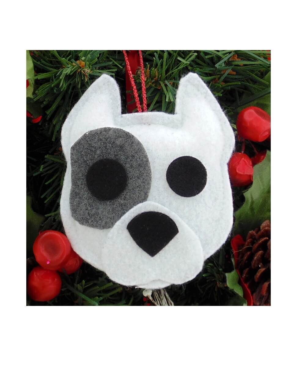 Pit Bull Ornament - White with Gray Patch - Cropped Ears