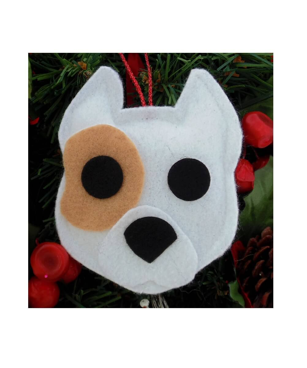 Pit Bull Ornament - White with Tan Patch - Cropped Ears
