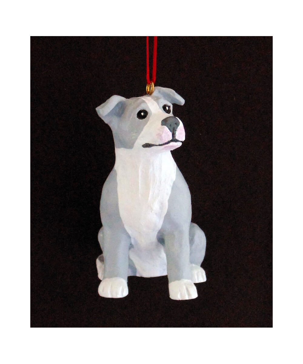 Hand-painted Pit Bull Christmas Ornament – Gray and White