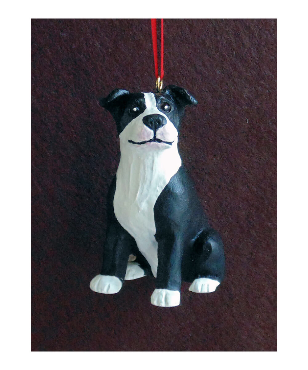 Hand-painted Pit Bull Christmas Ornament – Black and White