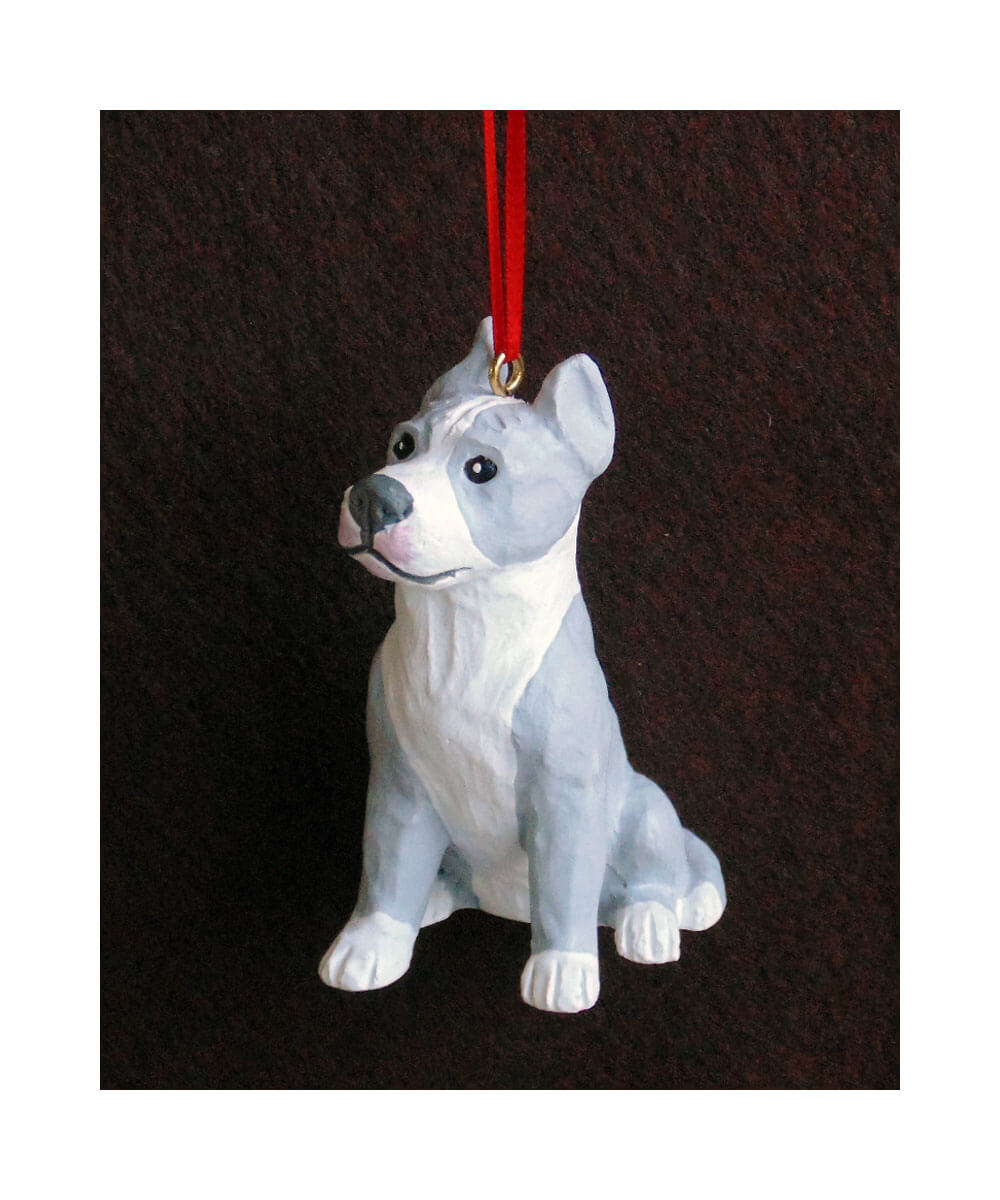 Hand-painted Pit Bull Christmas Ornament – Gray and White - Cropped Ears