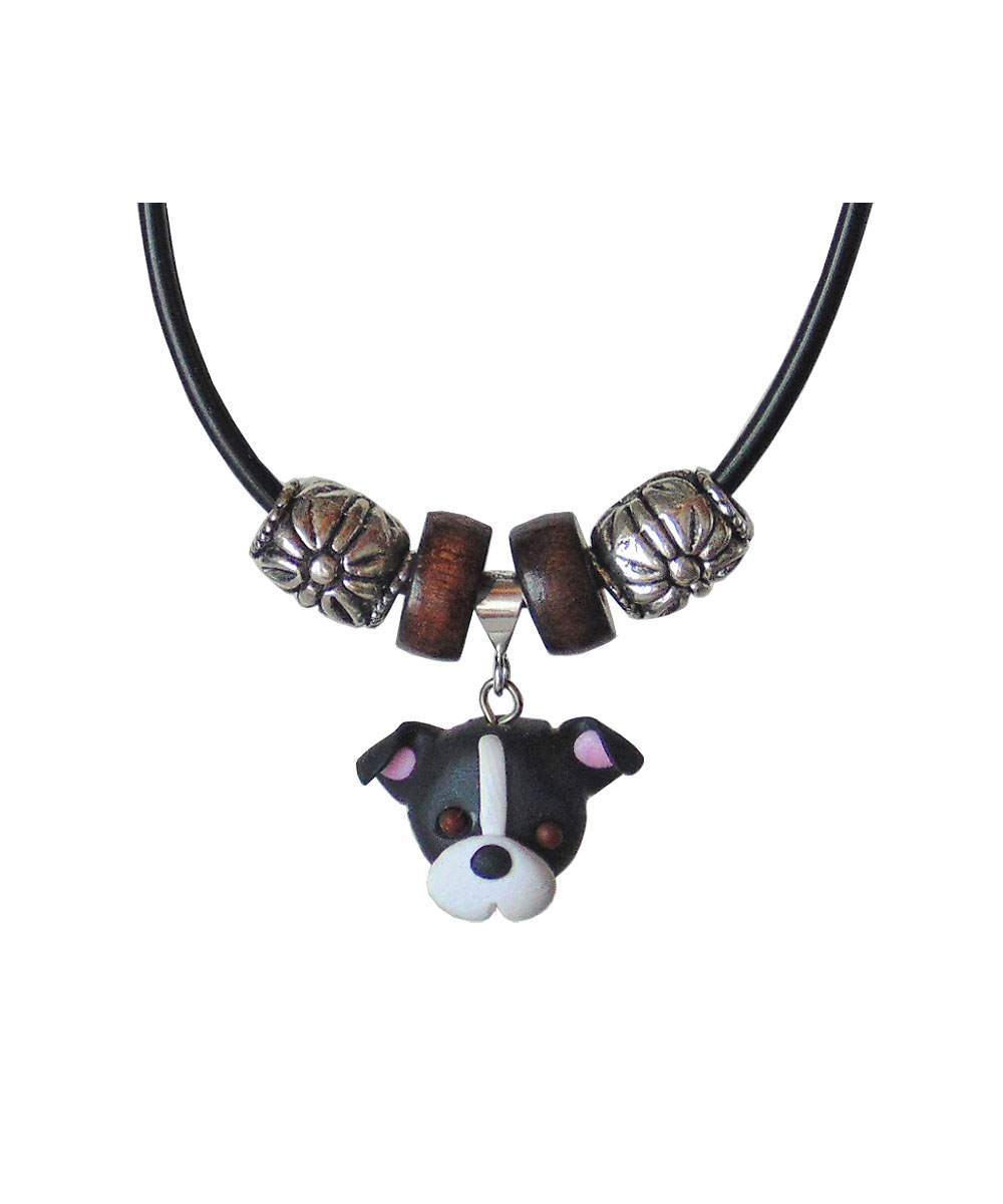 Black and White Pit Bull Necklace
