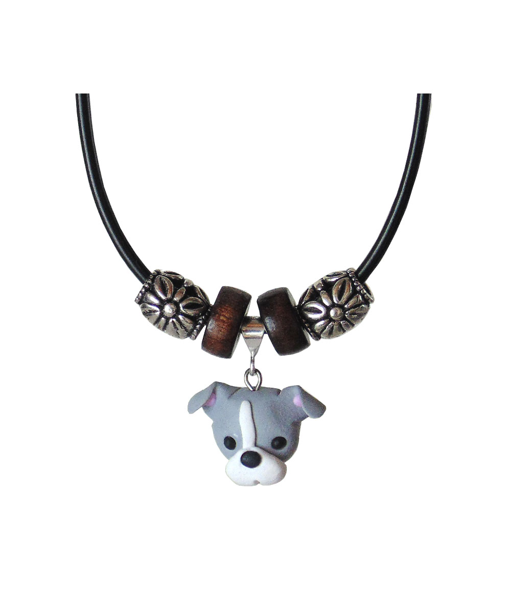 Gray and White Pit Bull Necklace