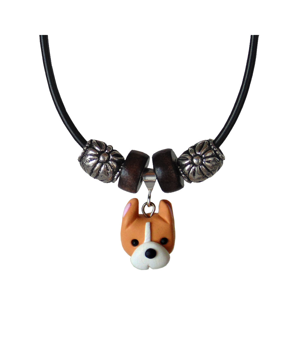 Adora-bull Pit Bull Face Necklace - Cropped (Tan and White)