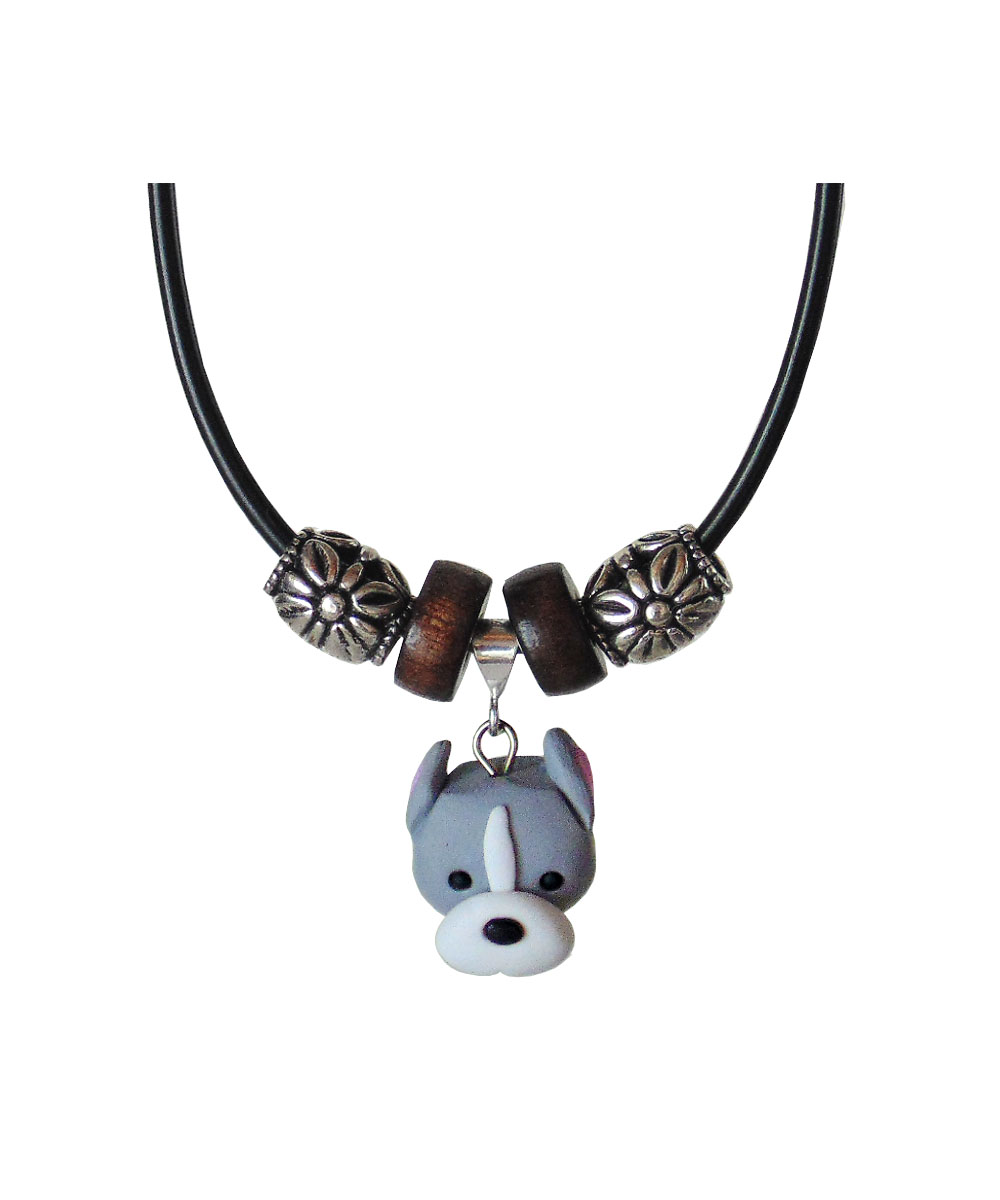 Adora-bull Pit Bull Face Necklace - Cropped (Gray and White)