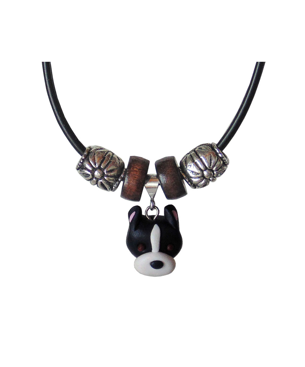 Adora-bull Pit Bull Face Necklace - Cropped (Black and White)