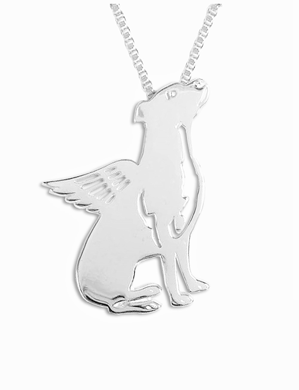 A Winged Pit Bull Necklace - Natural Ears