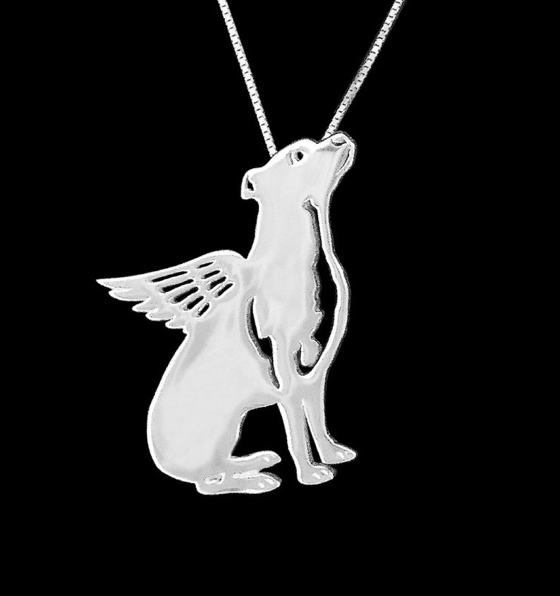 A Winged Pit Bull Angel Necklace - Natural Ears