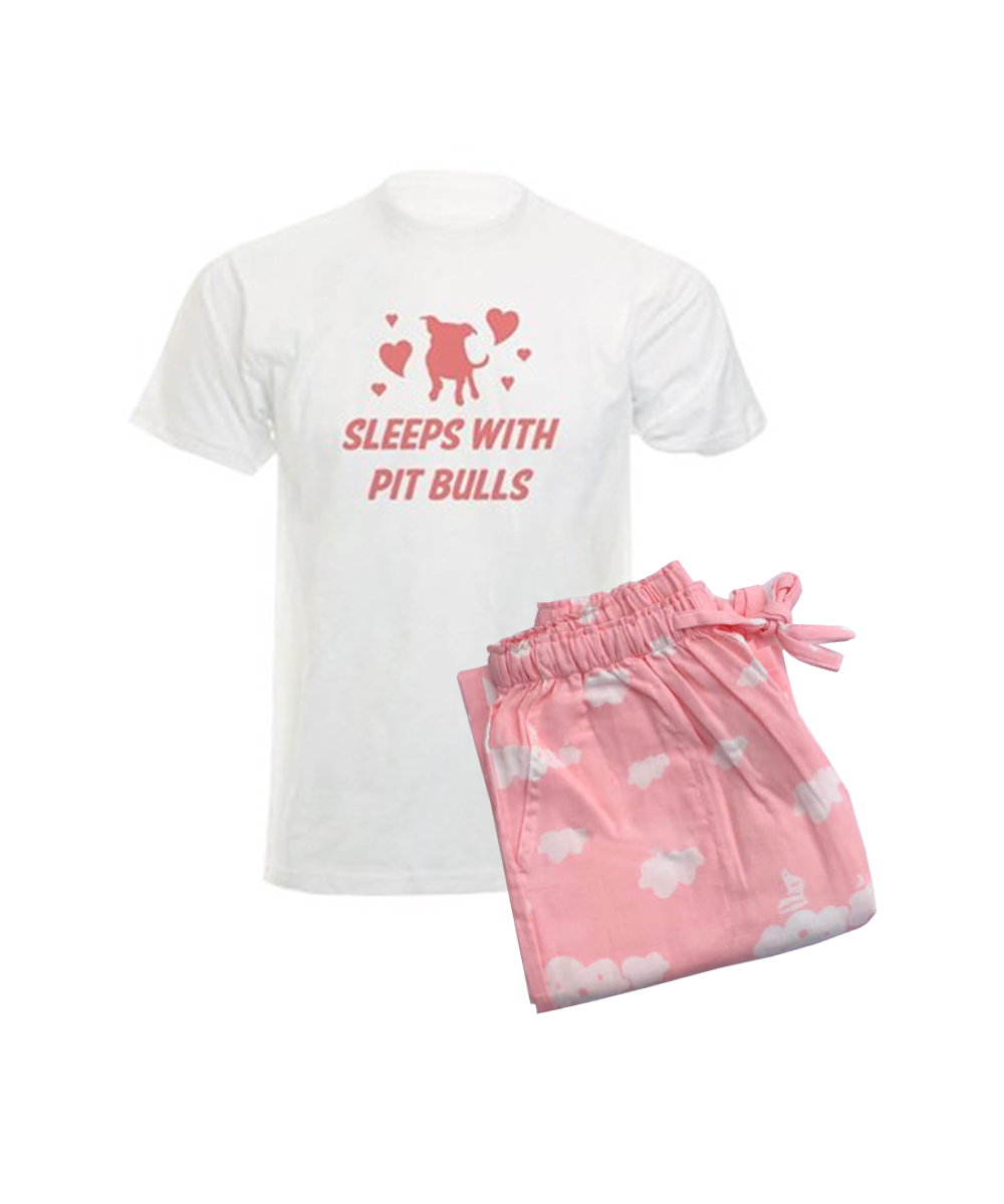 Sleeps with Pit Bulls (Clouds) Women's Pajamas