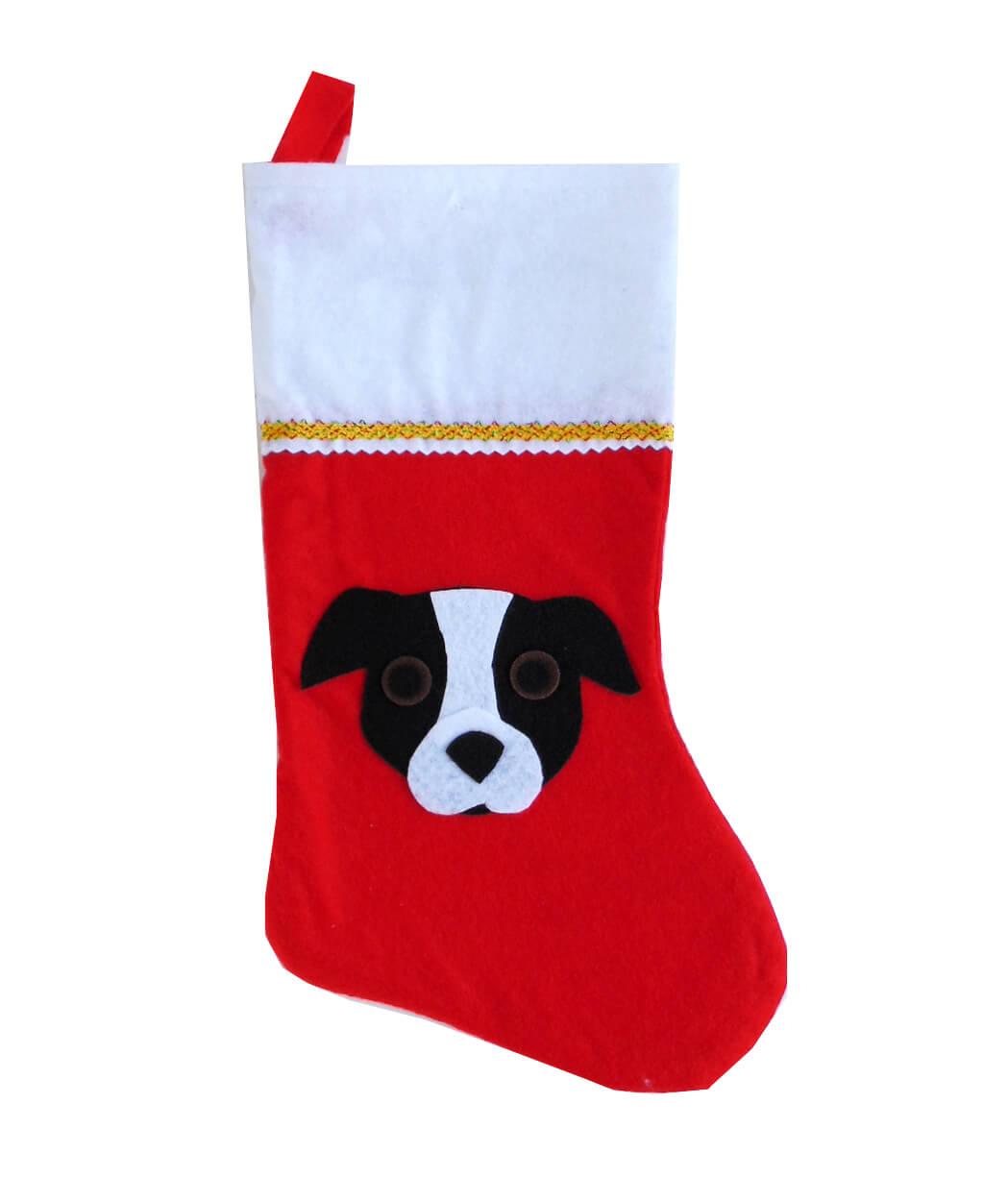 Pit Bull Christmas Stocking - Black & White - Natural Ears