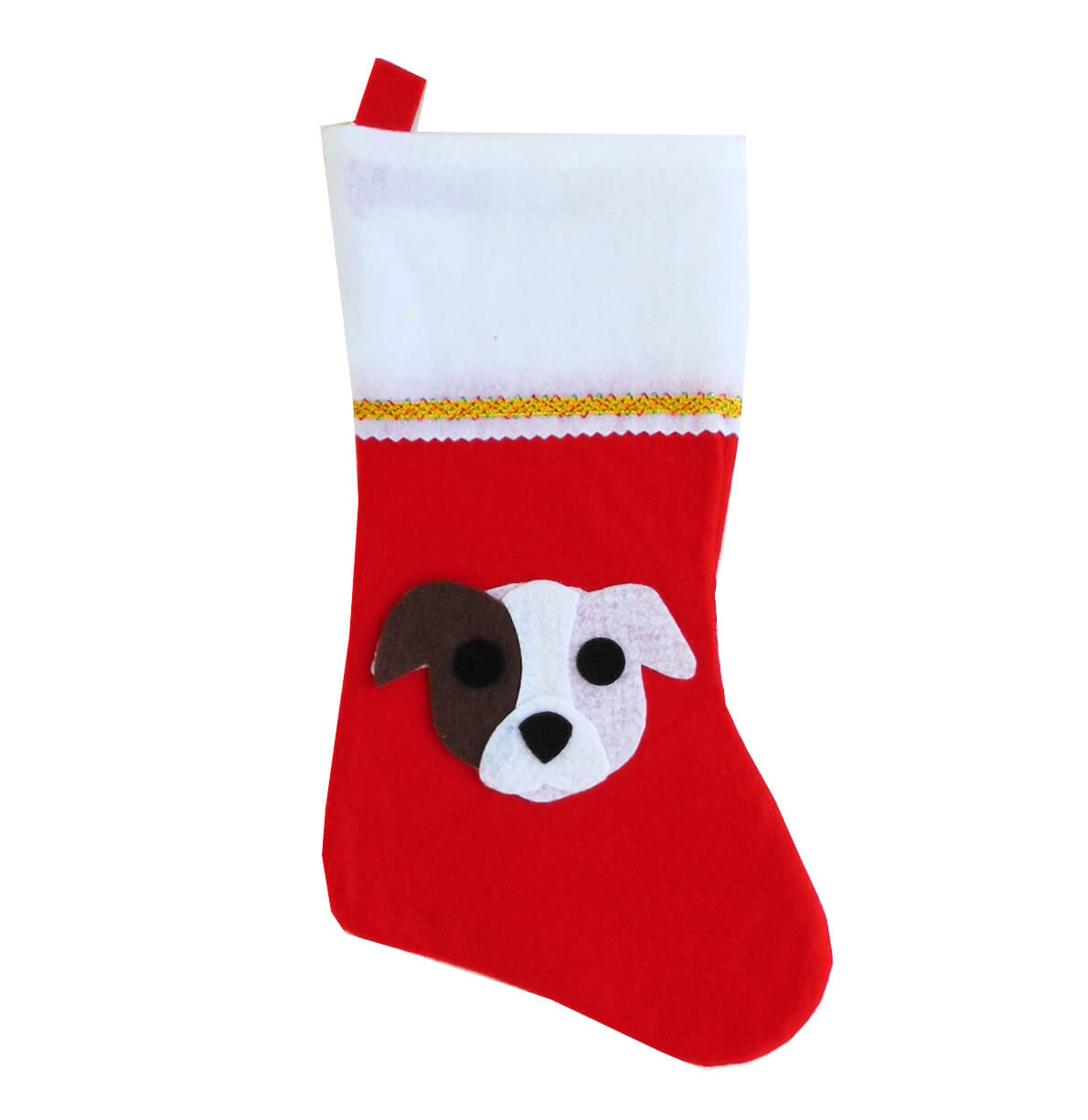 Pit Bull Christmas Stocking - Brown Eye Patch - Natural Ears