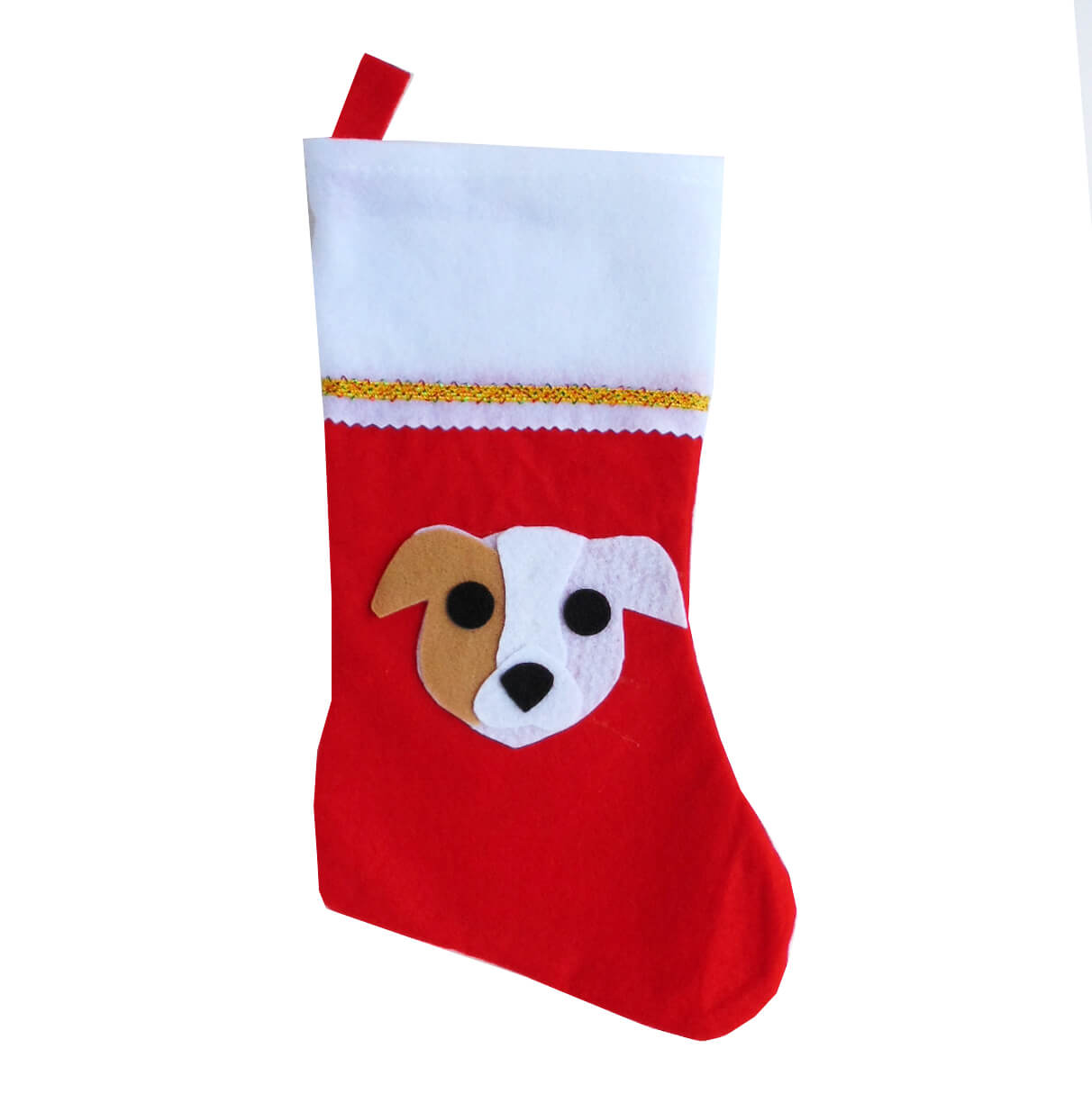 Pit Bull Christmas Stocking - Tan Eye Patch - Natural Ears