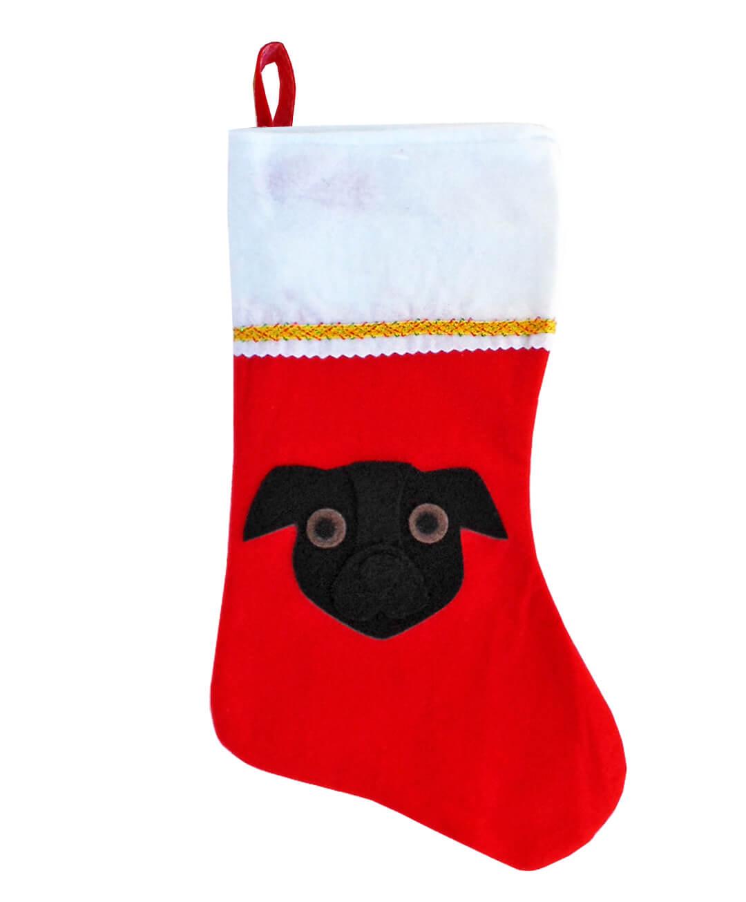 Pit Bull Christmas Stocking - Black - Natural Ears