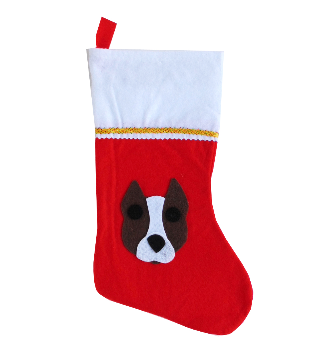 Pit Bull Christmas Stocking - Brown & White - Cropped Ears