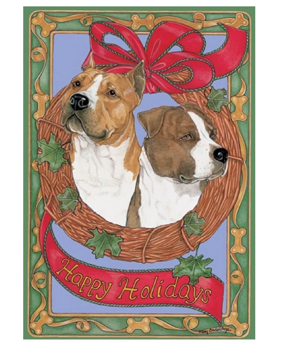 Am Staff Happy Holidays Pit Bull Christmas Cards (Pack of 10)