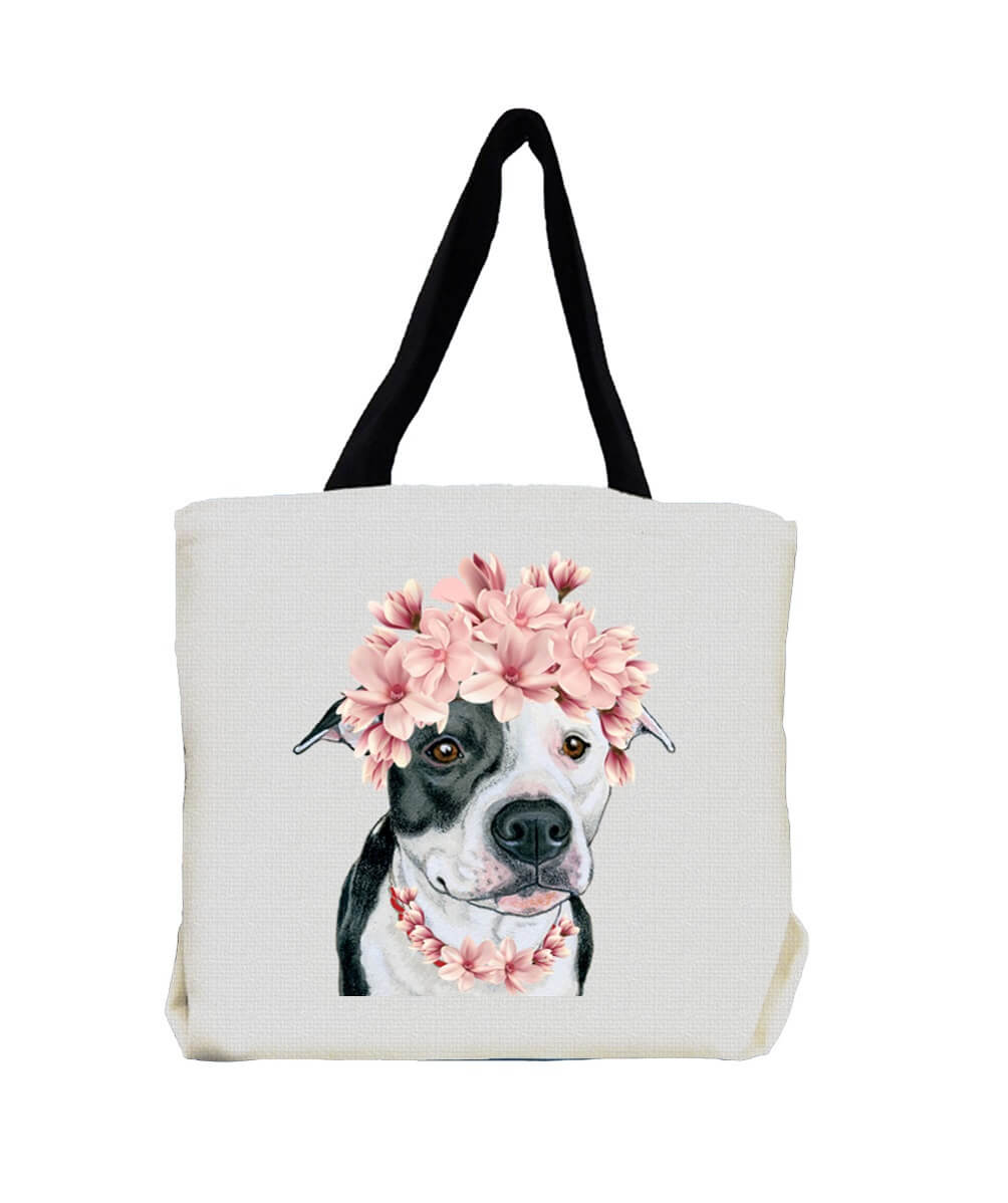 Black and White Pit Bull Terrier with Flowers Tote Bag