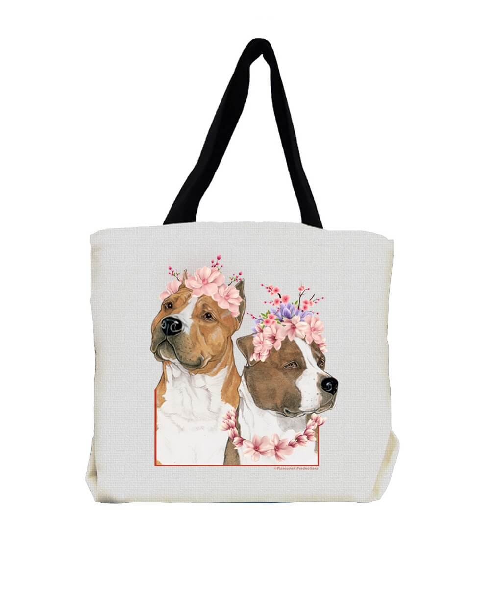 Am Staff Pit Bull Terrier with Flowers Tote Bag