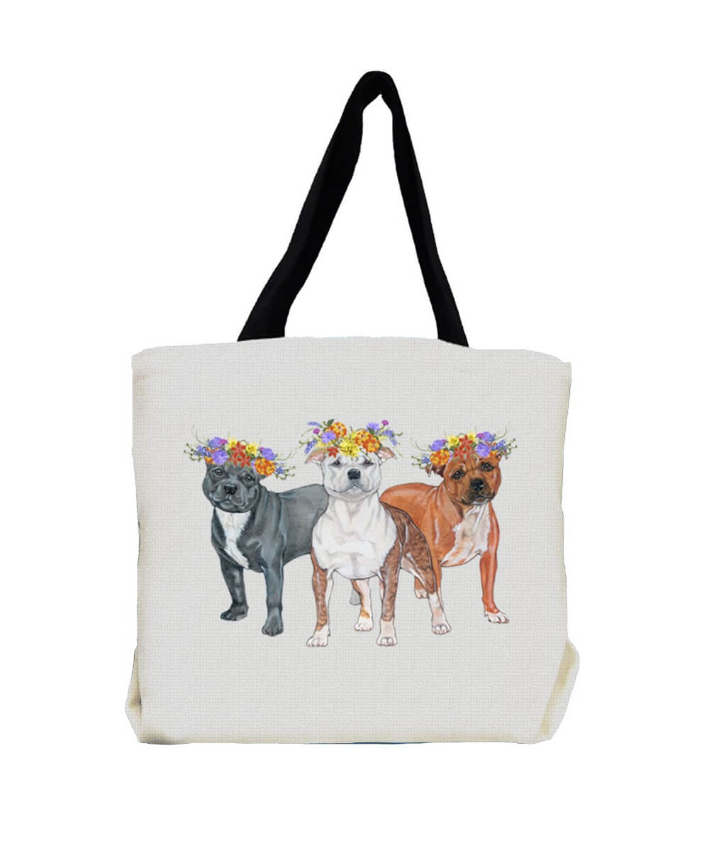 Staffie Trio Pit Bull Terrier  with Flowers Tote Bag