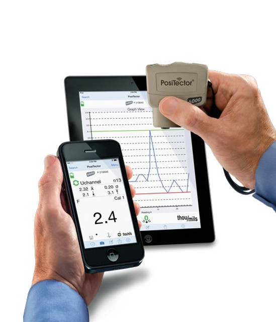 PosiTector SmartLink and free mobile app turns your cell phone or tablet into a virtual PosiTector gage. Take full advantage of the simplicity and utility of your smart device including touch screen, keyboard, microphone, camera, email, WiFi, Bluetooth, cellular, dictation tools, and more.