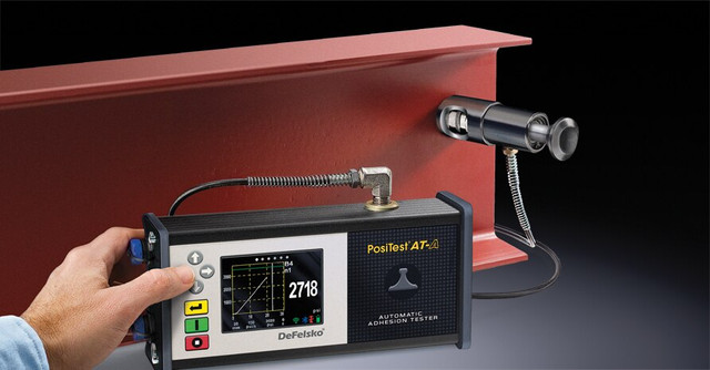 The PosiTest AT-A Automatic Adhesion Tester boasts an electronically controlled hydraulic pump which automatically applies smooth and continuous pull-off pressure with a user adjustable pull rate, pull limit and hold time. It can store test data for 100,000 pulls in up to 1,000 batches. The impact and scratch resistant color touch screen and keypad is ideal for operation both with and without gloves. Using built-in Bluetooth technology, measurements can be transmitted to the PosiTector App for further annotation.