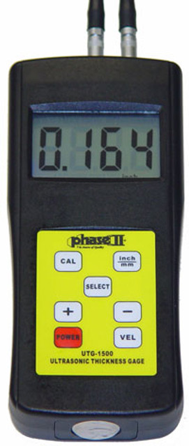 The new PHASE II UTG-1500 is a handheld microprocessor-controlled ultrasonic thickness gauge specifically designed for measuring the thickness of metallic and non-metallic materials such as aluminum, titanium, plastics, ceramics, glass, and any other good ultrasonic wave conductor as long as it has a parallel top and bottom surfaces. With uses in many areas of industry, the UTG-1500 ultrasonic thickness gauge can perform precise thickness measurements on various types of raw materials, component parts, and assembled machinery. It can also be used to monitor all types of pipes and pressure vessels for loss of thickness due to corrosion or erosion.