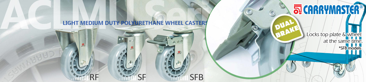 Carrymaster ACLMU Series, Light/Medium Duty Single Polyurethane Wheel Casters