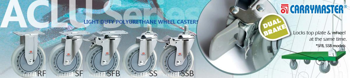 Carrymaster ACLU Series, Light-Duty Single Polyurethane Wheel Casters