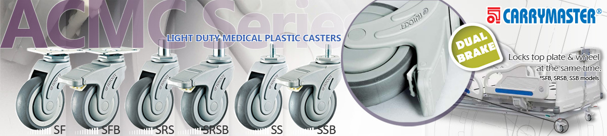 Carrymaster ACMC Series Light-Duty Medical Plastic Casters