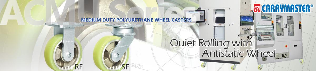 Carrymaster ACMU Series, Medium-Duty Single Polyurethane Wheel Casters