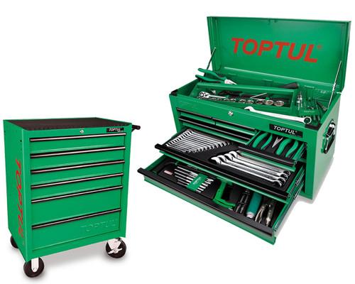 Toptul GCBZ120AB 121 Piece 6 Drawer Metric/AF Tool Kit + 6 Drawer Roller Cabinet