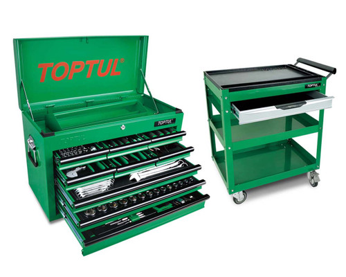 Toptul GCBZ186ABC 186 Piece 9 Drawer Metric/AF Tool Kit + Service Trolley Cart