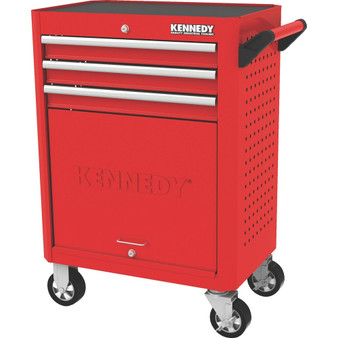 Kennedy RED28inch 3 DRAWER ROLLER CABINET