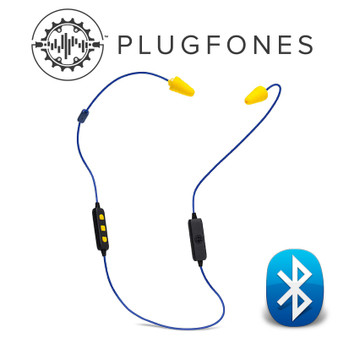 BLUETOOTH LIBERATE PLUGFONE BLUE/YELLOW EARPHONES WITH MIC & VOL CONT