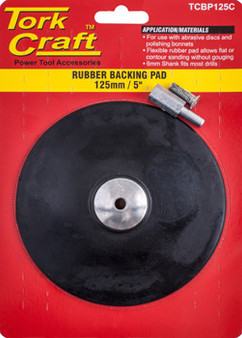 BACKING PAD RUBBER 125MM W/ARBOR