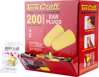 EAR PLUG 200PC BULLET SHAPE SNR33 YELLOW PER BOX