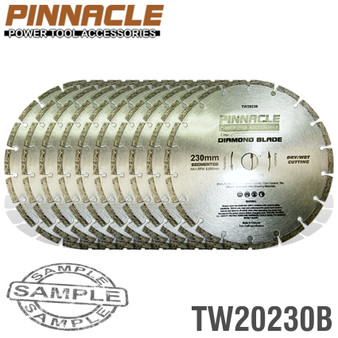 DIAMOND BLADE SEGMENTED 230MM 10/BOX PINNACLE