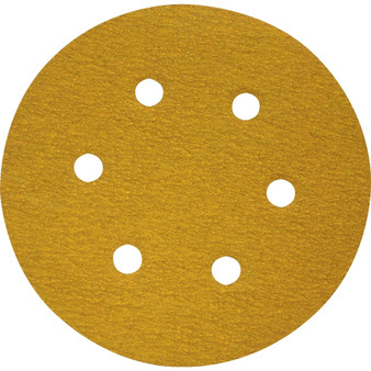 150mm 6 HOLE SELF-STICK SANDING DISCS P120