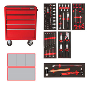 76 Piece Metric Starter Kit - 5 Drawer Roller Cabinet