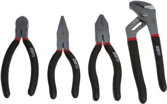 4 Piece Plier Set - Combination, Diagonal, Long Nose and Groove Joint