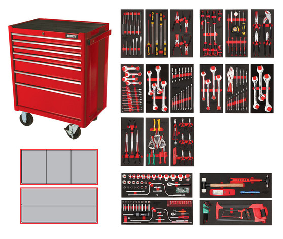 209 Piece Professional SAE Toolkit - 7 Drawer Roller Cabinet