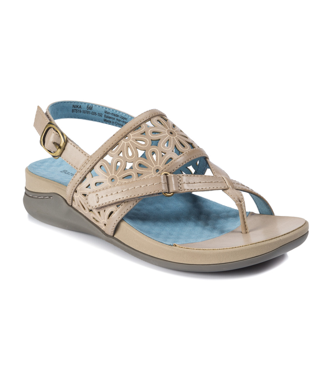 b6bc87abdff The laser cut flower details makes the Nika the perfect spring or summer  accessory! This comfort sandal features a buckle on the back strap and a  hook and ...