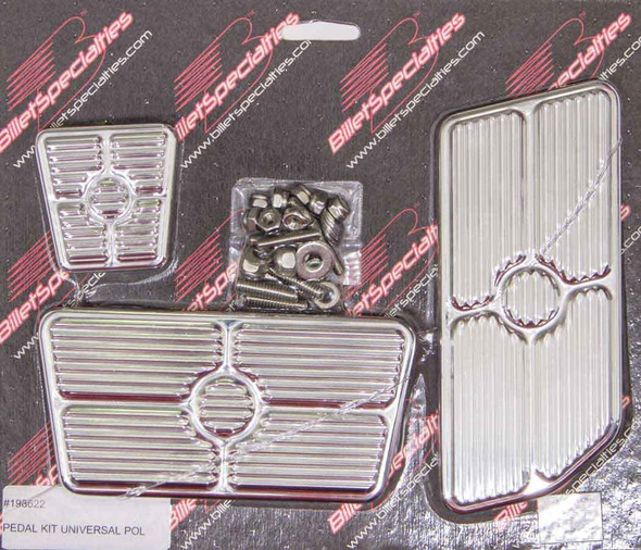 BILLET SPECIALTIES BSP198622 Universal Pedal Kits Grooved Polished Performance Oil Shop