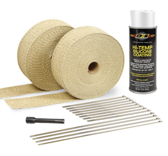 DESIGN ENGINEERING DSN010091 Exhaust & Pipe Wrap Kit Tan w/White High Temp Performance Oil Shop