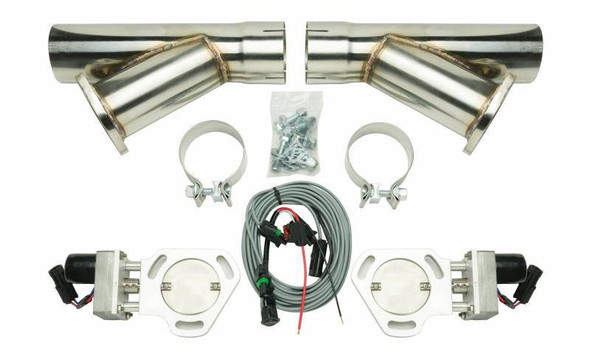 PYPES PERFORMANCE EXHAUST PYPHVE10K3 Dual Electric Exhaust Cutout 3in w/Y-Pipes Performance Oil Shop