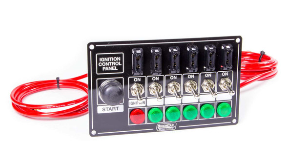 QUICKCAR RACING PRODUCTS QRP50-864 Ignition Panel Blk Fused w/Start But. & Lights Performance Oil Shop