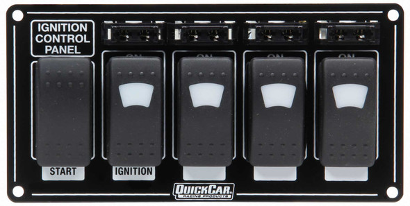 QUICKCAR RACING PRODUCTS QRP52-864 Ignition Panel w/ Rocker Switches Fuses & Lights Performance Oil Shop