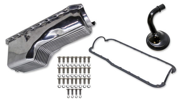 WEIAND WEI6532FWND 4qt Alm Finned Oil Pan Kit BBC 65-90 Polished Performance Oil Shop