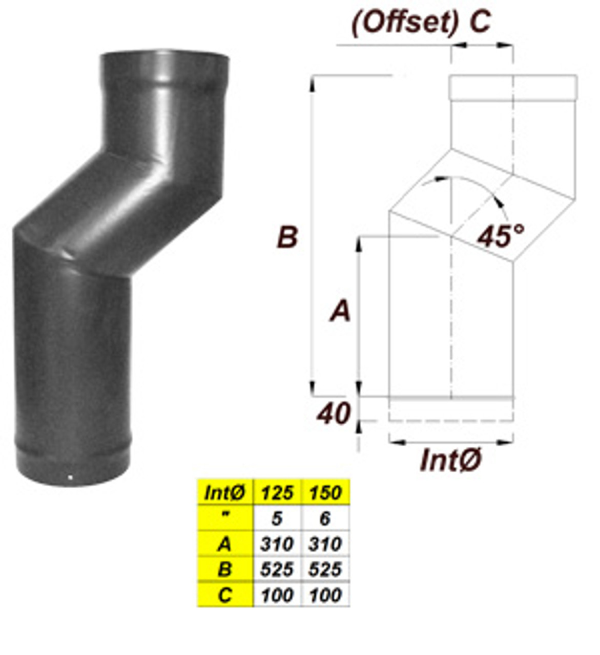 1 Piece Stove Offset (100mm)
