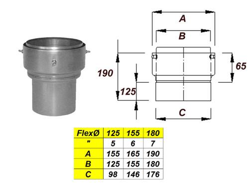 Increasing Adaptor to Flex - 100mmØ (Stove Pipe)