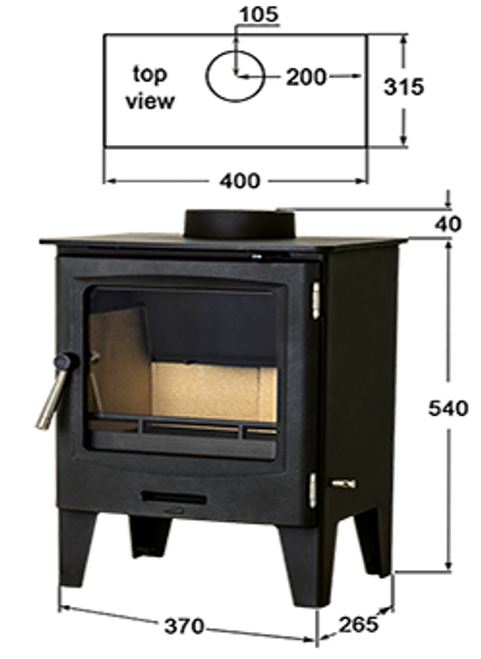 Horizon 5kW DEFRA Approved Stove Dims